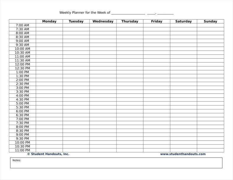 sample daily organizer planner for staff and employee 11 788x609