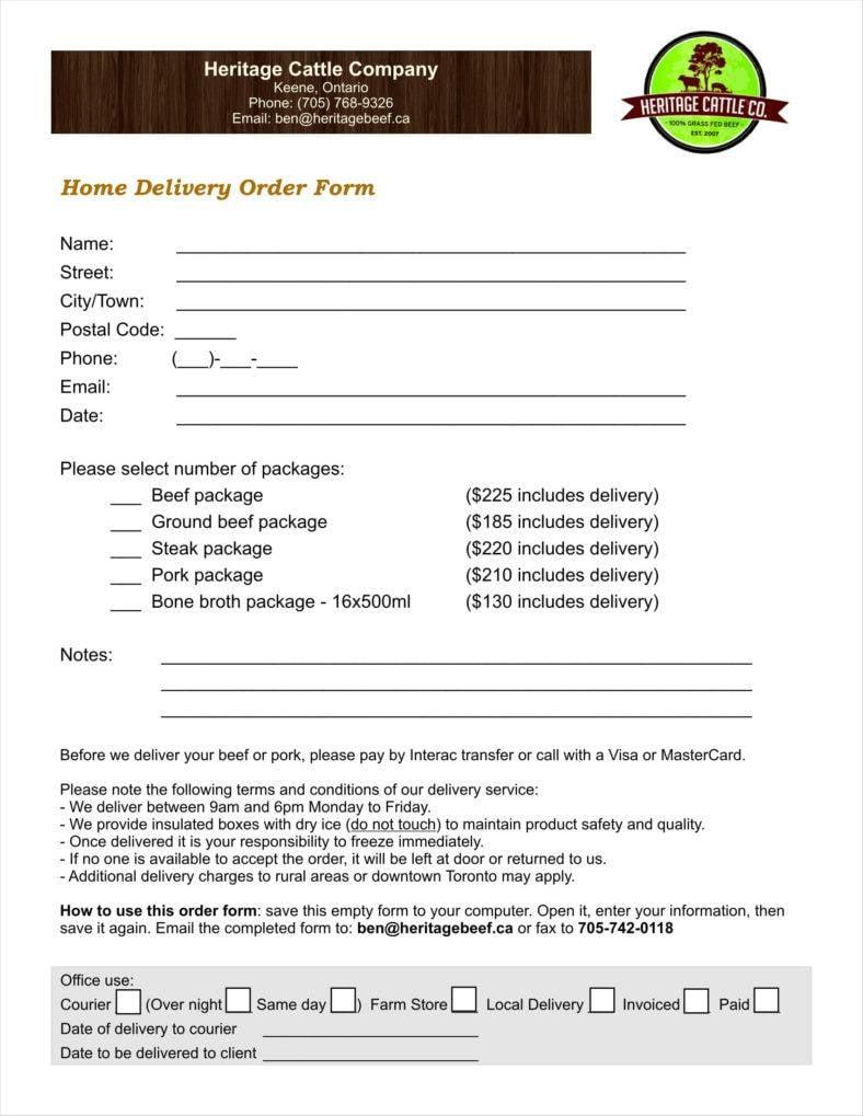 sample delivery order form download 11 788x1019