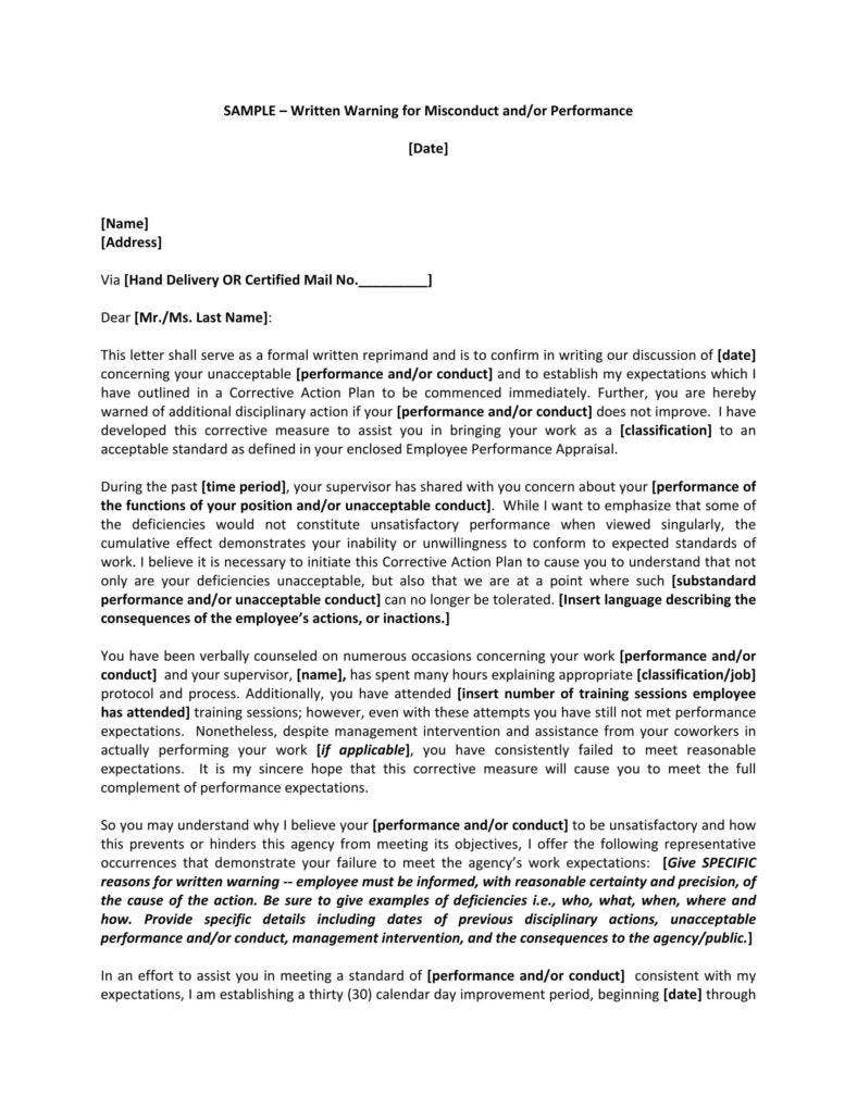 sample warning letter for poor work performance in the company 1 788x1020