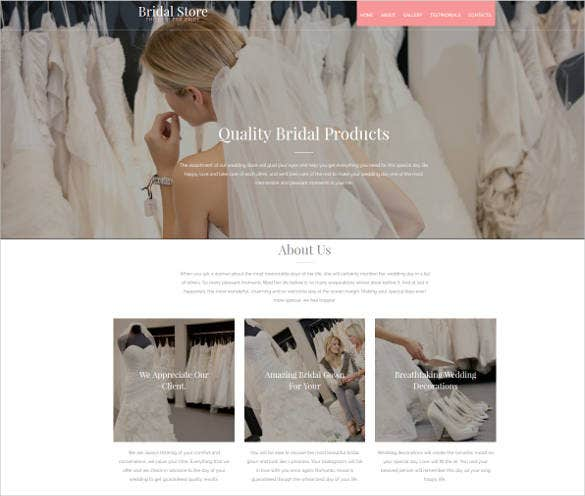 single page for bridal website design