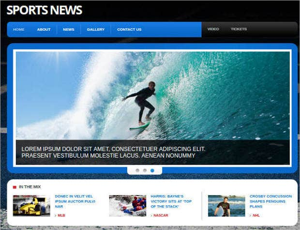 sports news portal gallery website template1