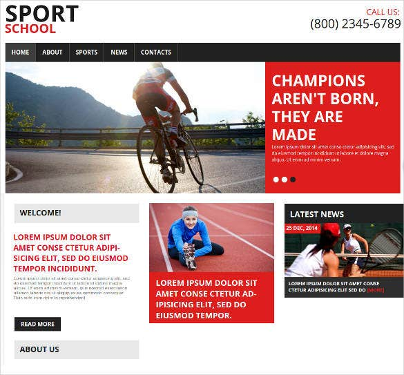 sports school website theme