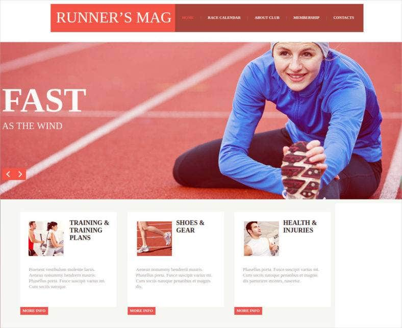 sports website template with google calendar 788x643