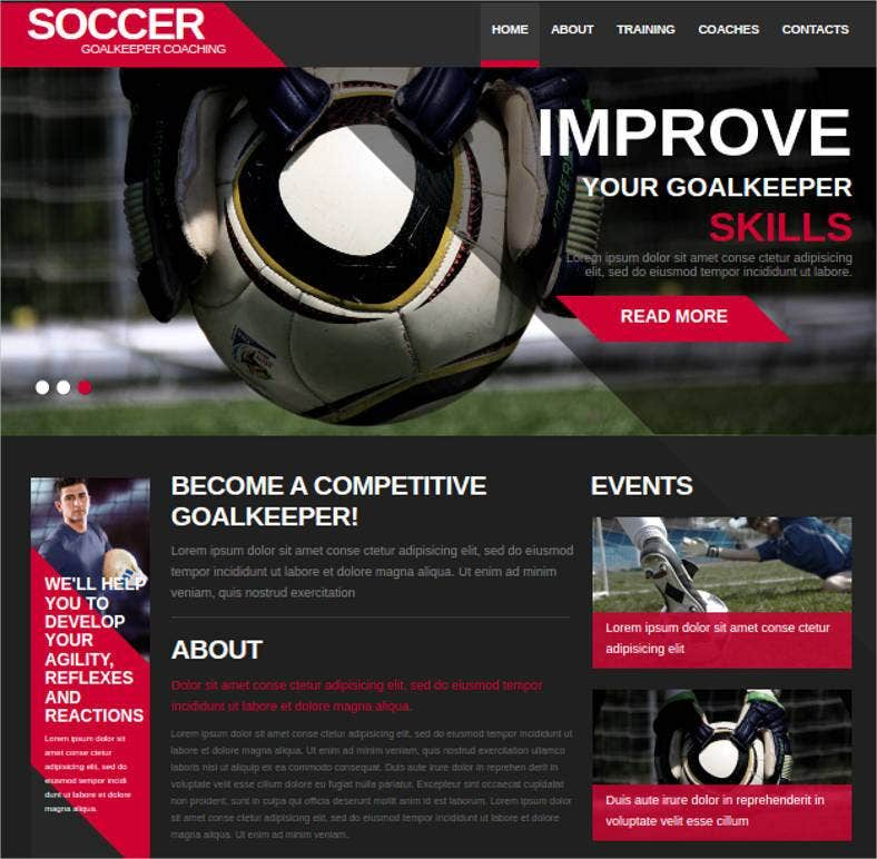 sports website theme for soccer team 788x772