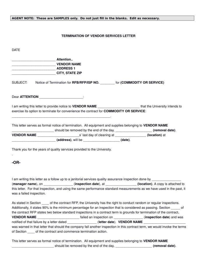 Termination-of-Vendor-Services-Letter-Template-1-788x1020 Vendor Service Termination Letter Template on contract termination template, termination of services template, vendor cancellation letter,
