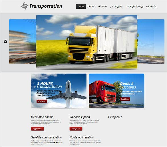 transportation service provider website theme