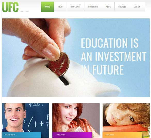 university website theme for better college education