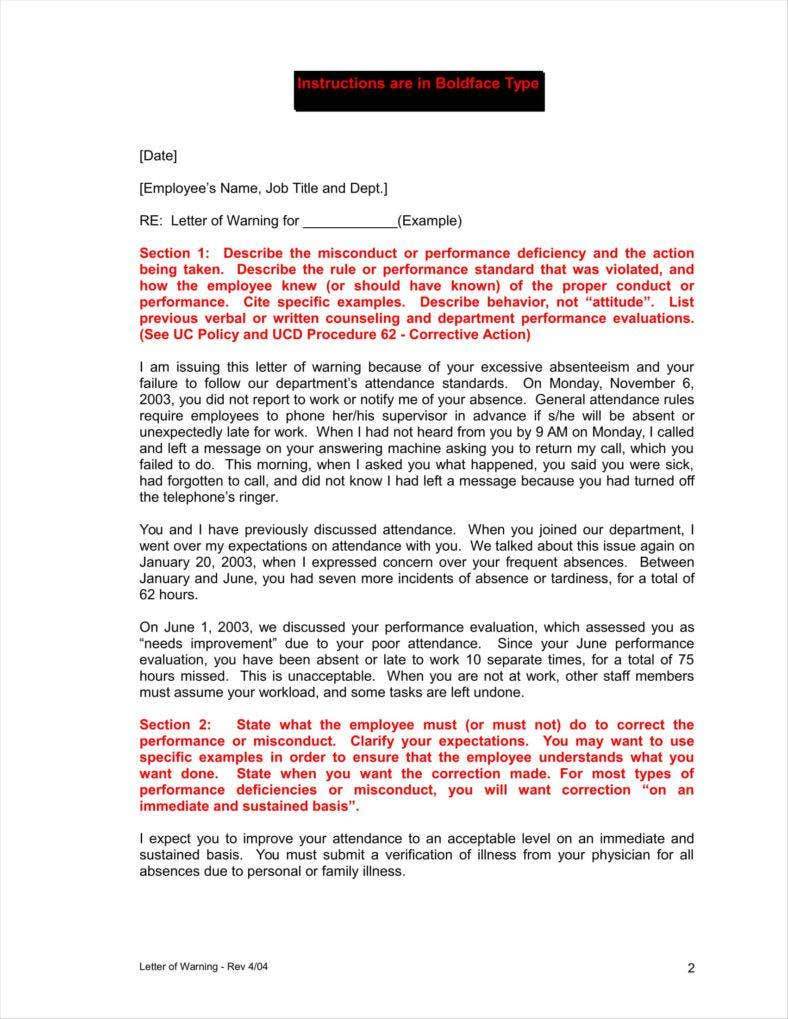 warning letter for professional misconduct