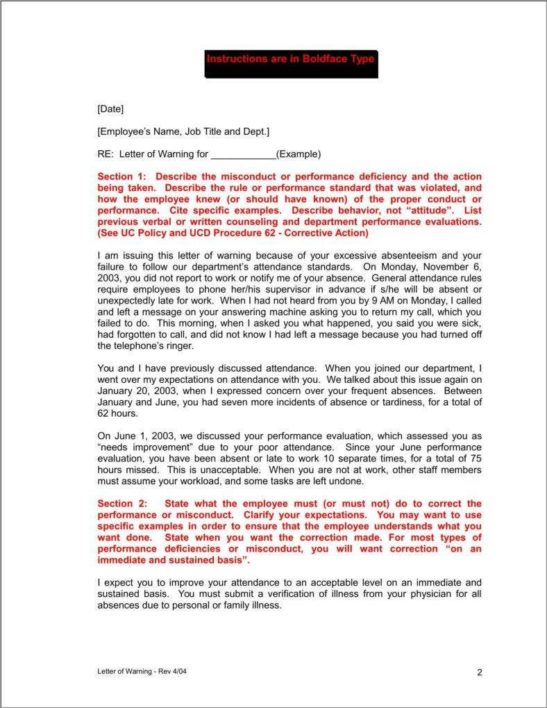 Company Warning Letter Templates Free Samples Examples Formats