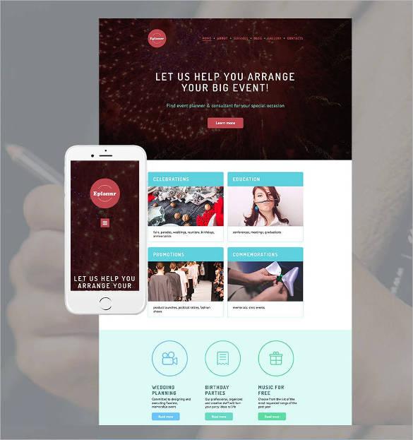 website design for event planner template1