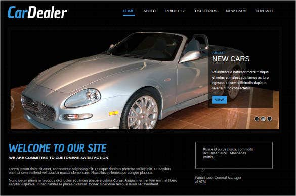 website template for car dealer