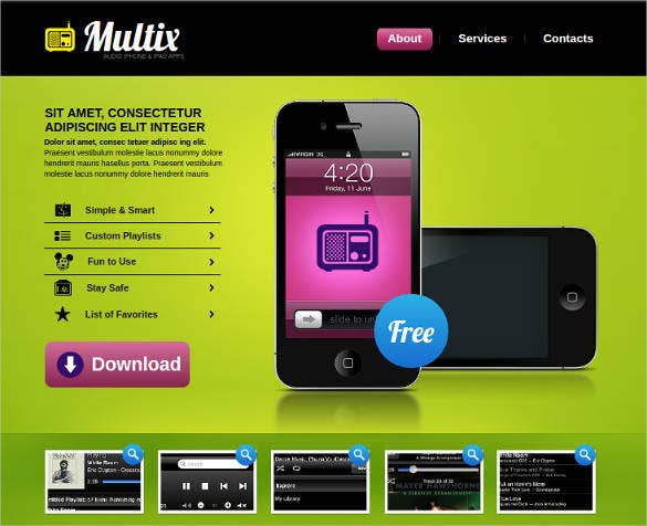 website template for mobile software developer