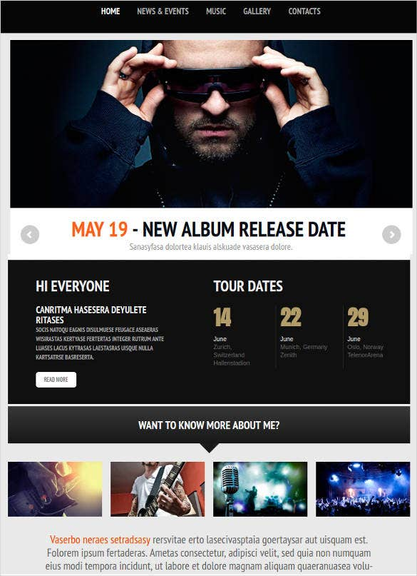 website template for music artists