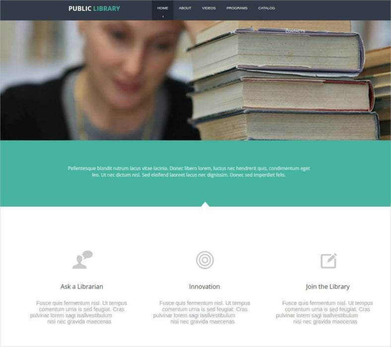 website template for public library 788x700