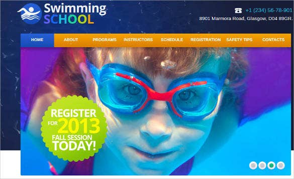 website template for swimming school