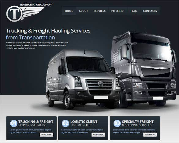website template for transportation company