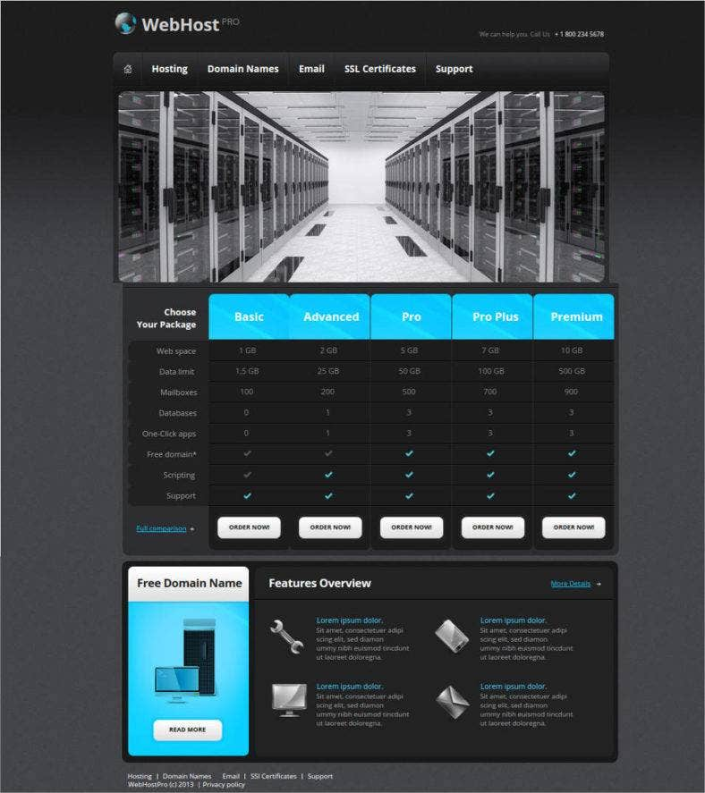 website template for web hosting provider 788x887