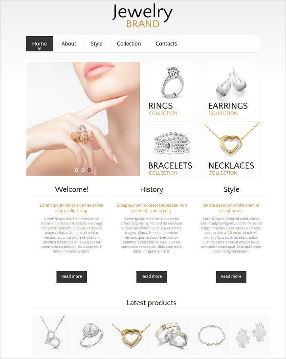 website template with a catalog for jewelry