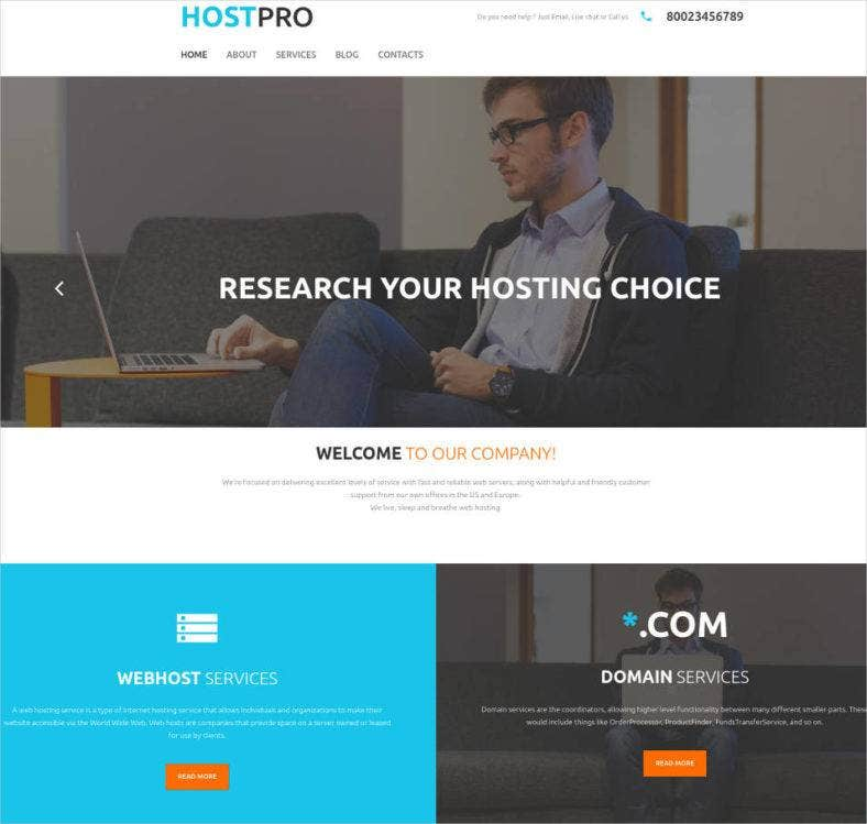 website for hosting company design 788x749