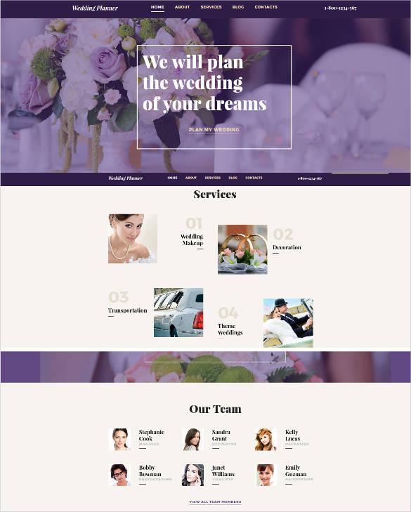 wedding planning responsive website