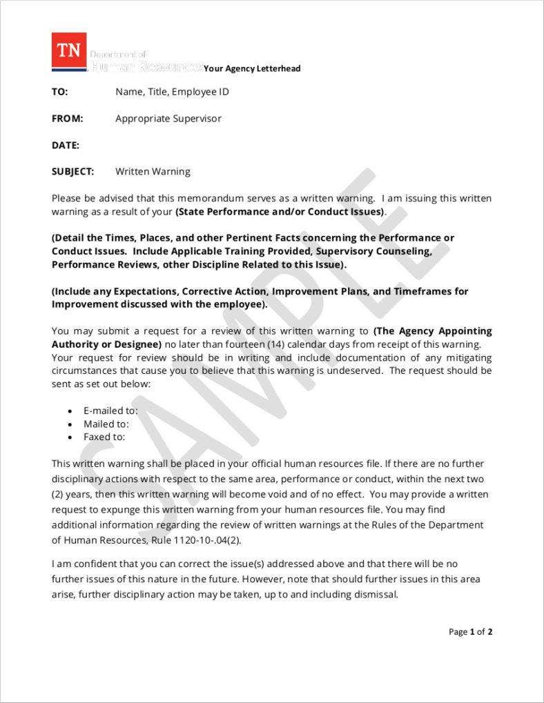 10  professional warning letters template