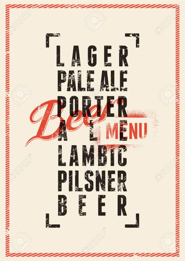 beer menu design vintage grunge style beer poster 788x1113