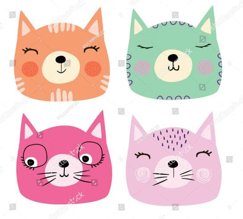 colorful cat heads 788x710