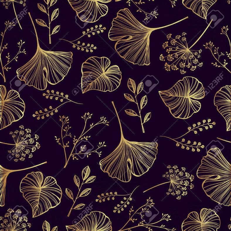 Leaf, flowers and herbs seamless pattern.