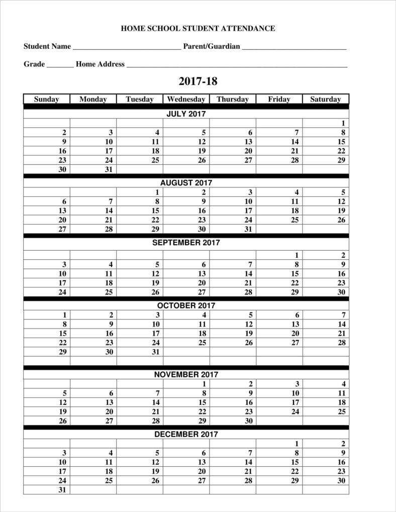 9 absence calendar templates free pdf excel format download free