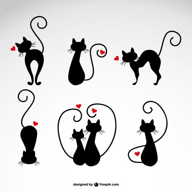 in love cats silhouettes