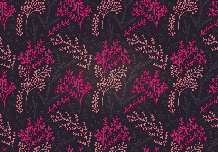 pink botanical vector seamless pattern