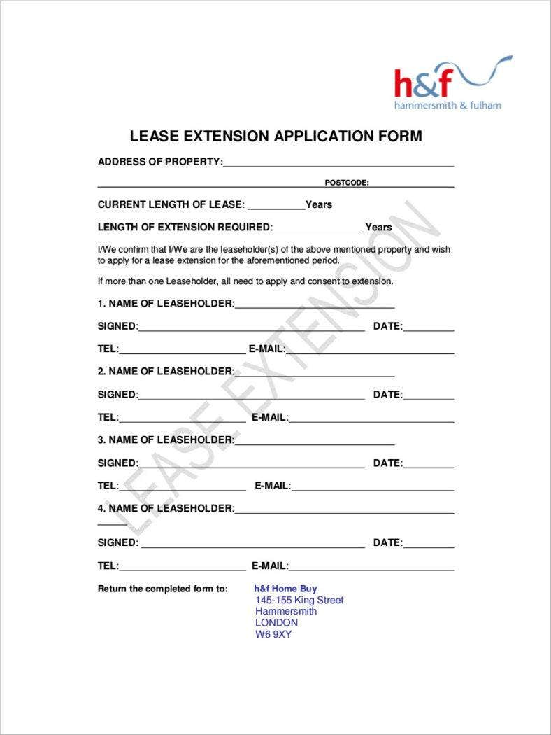30 Lease Application Forms Free Samples Examples Formats – Lease Extension Form