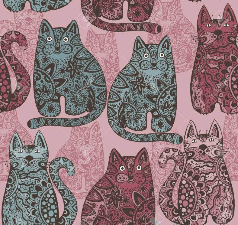 Seamless vector pattern with funny ornamental cats.