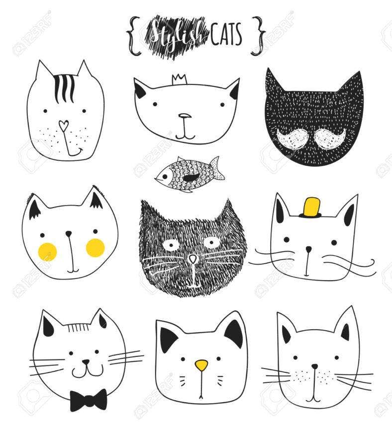 stylish cat doodles 788x862