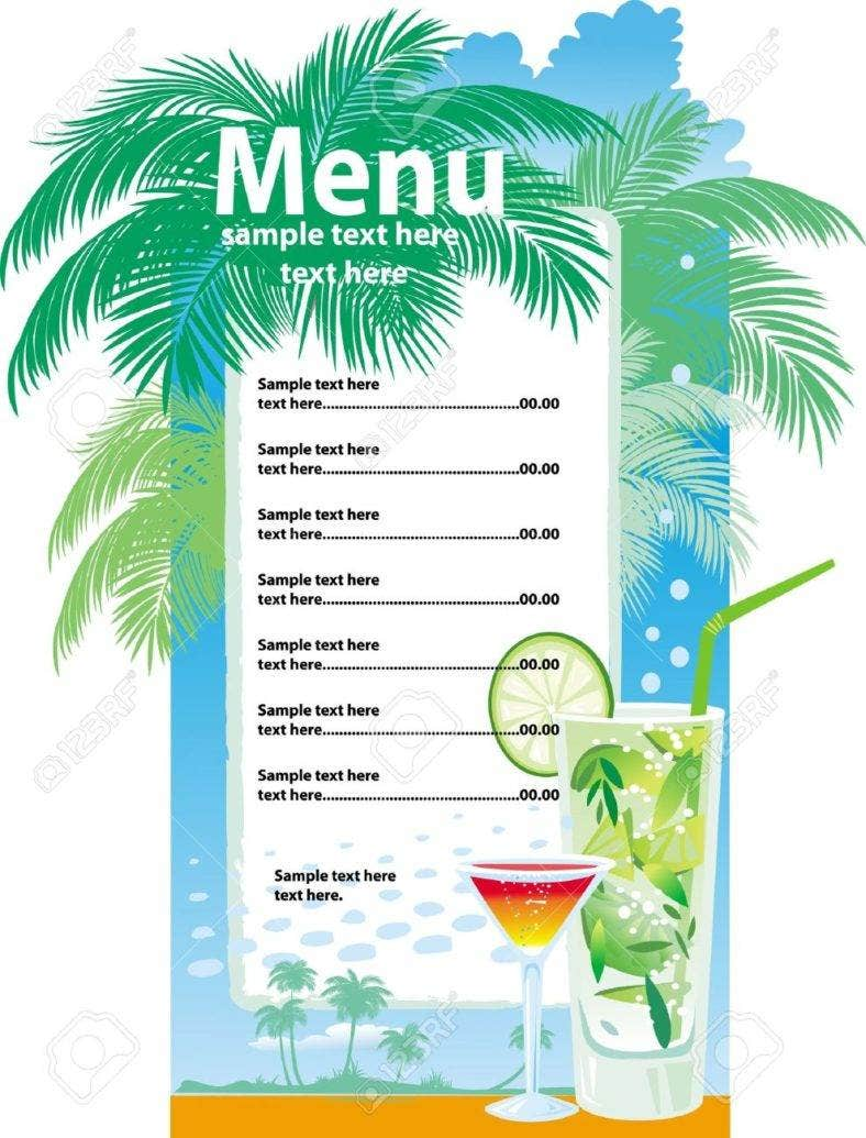 32 bar menu designs free premium templates for Drink menu template microsoft word