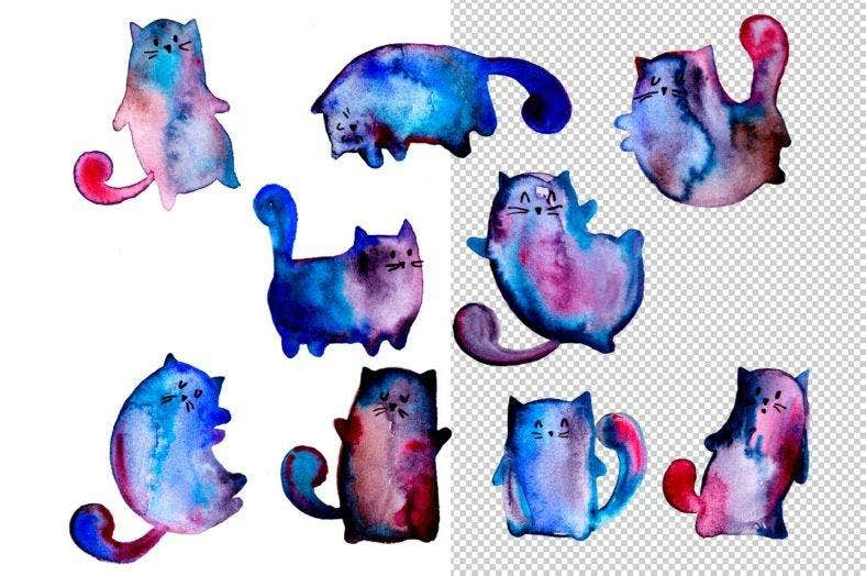 watercolor-cats