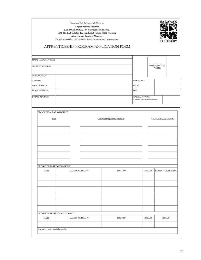 9 apprenticeship application form templates free word pdf forestry apprenticeship application form falaconquin