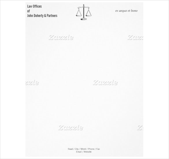 Attorney at Law Firm Example Letterhead