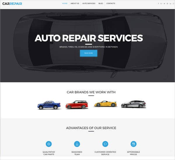 auto repair service responsive website theme
