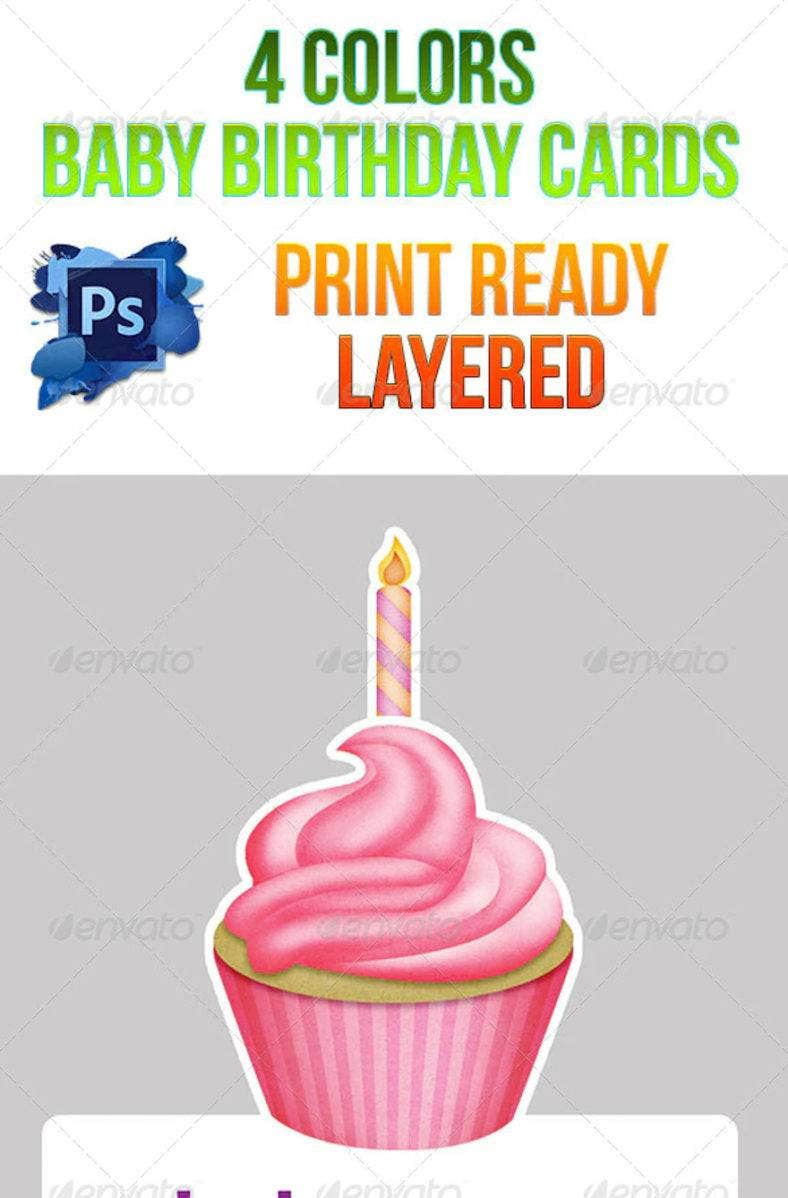 baby birthday cards 4 colors psd 788x1198