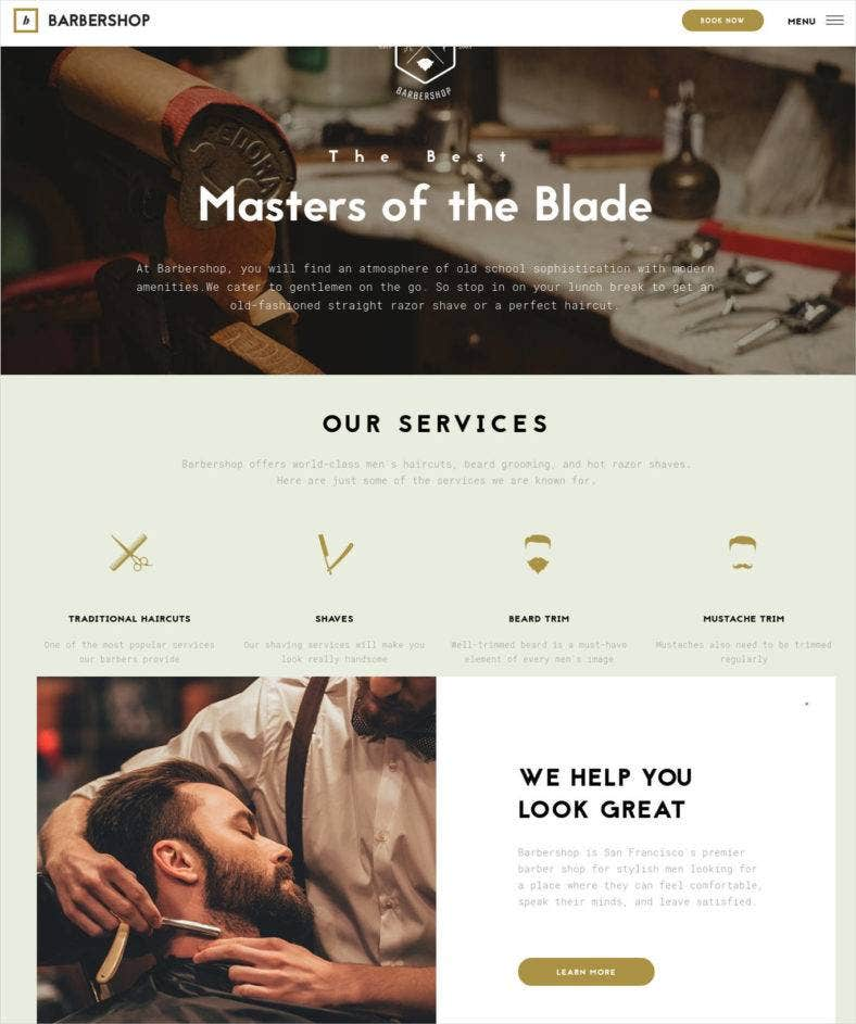 barbershop hair care hair styling website theme 788x943