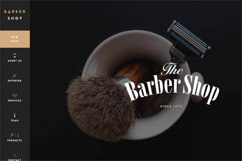 barbershop one page website template 788x524