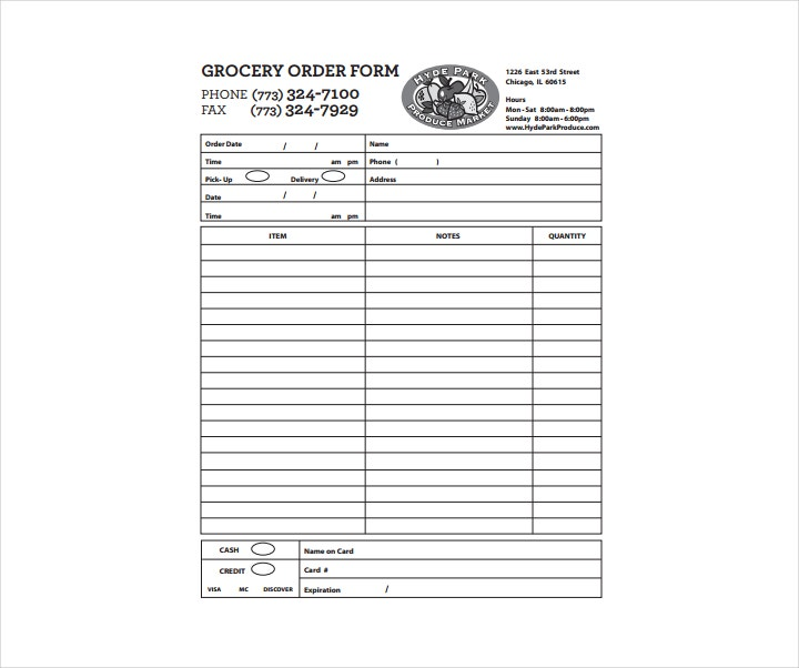Basic Grocery Order Form