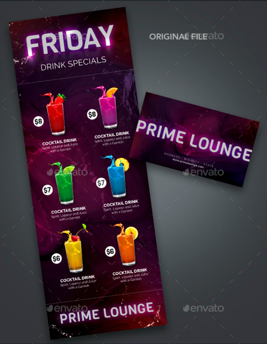 beverages-printable-menu-card