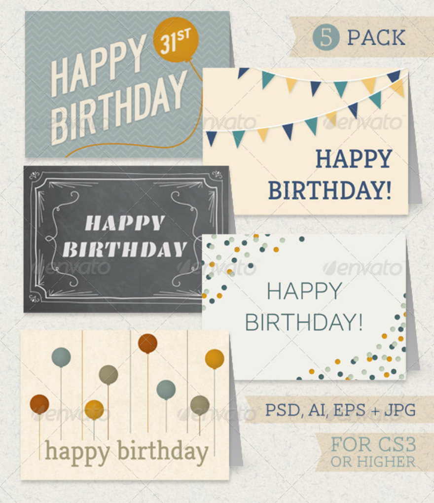 birthday greeting card pack psd