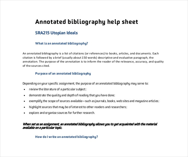 blank annotated bibliography helpsheet pdf format