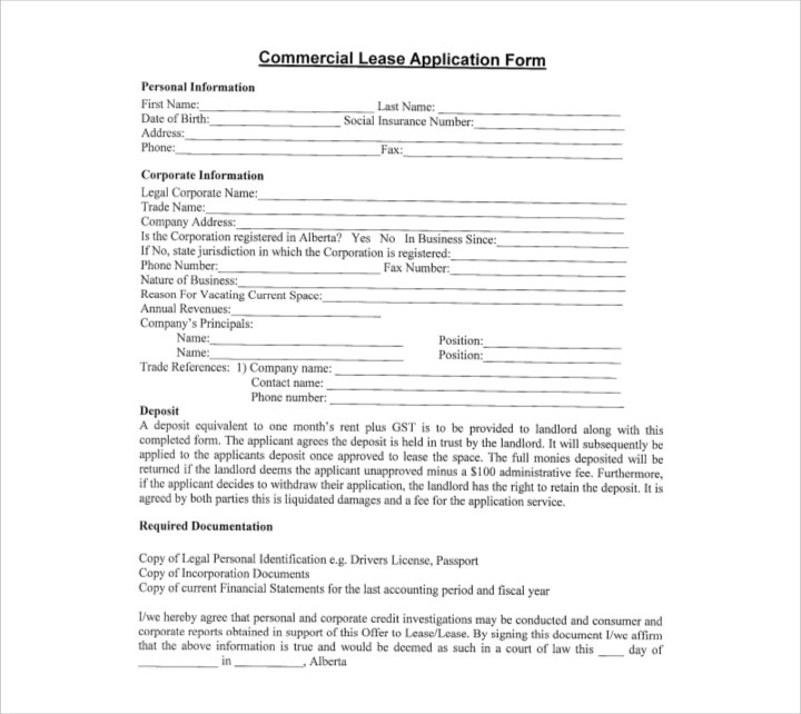 Blank Commercial Lease Application Form