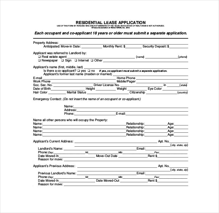 Blank Residential Lease Application Form