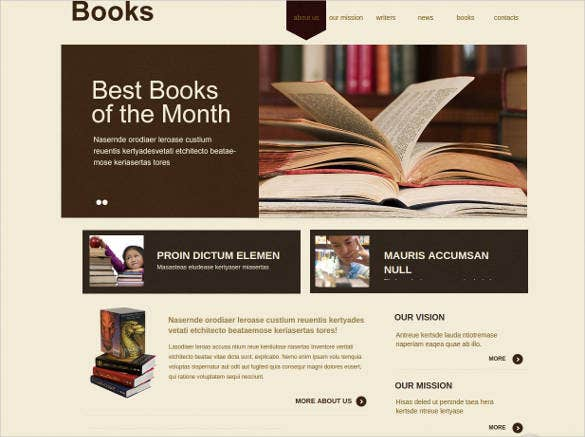 books website template for writers