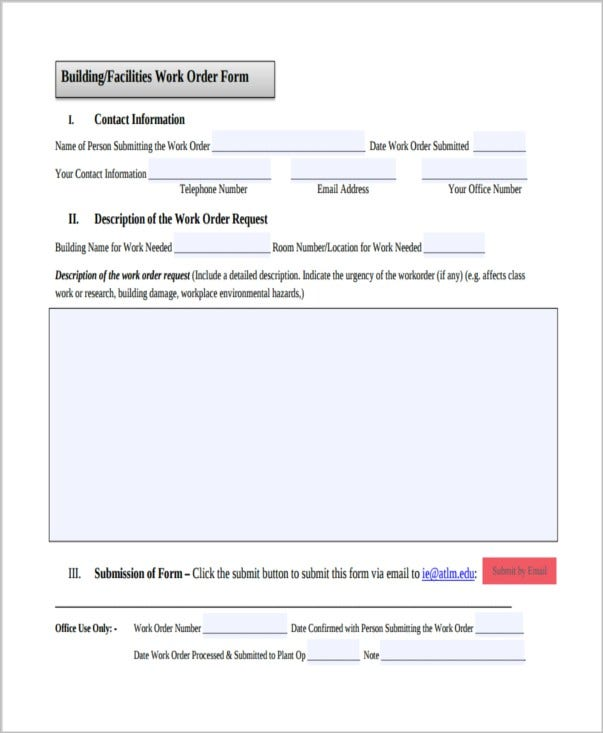 10 job order forms free premium templates